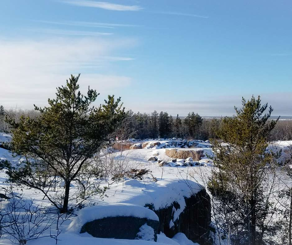 Winter view from the lookout tower at Blueberry Rock