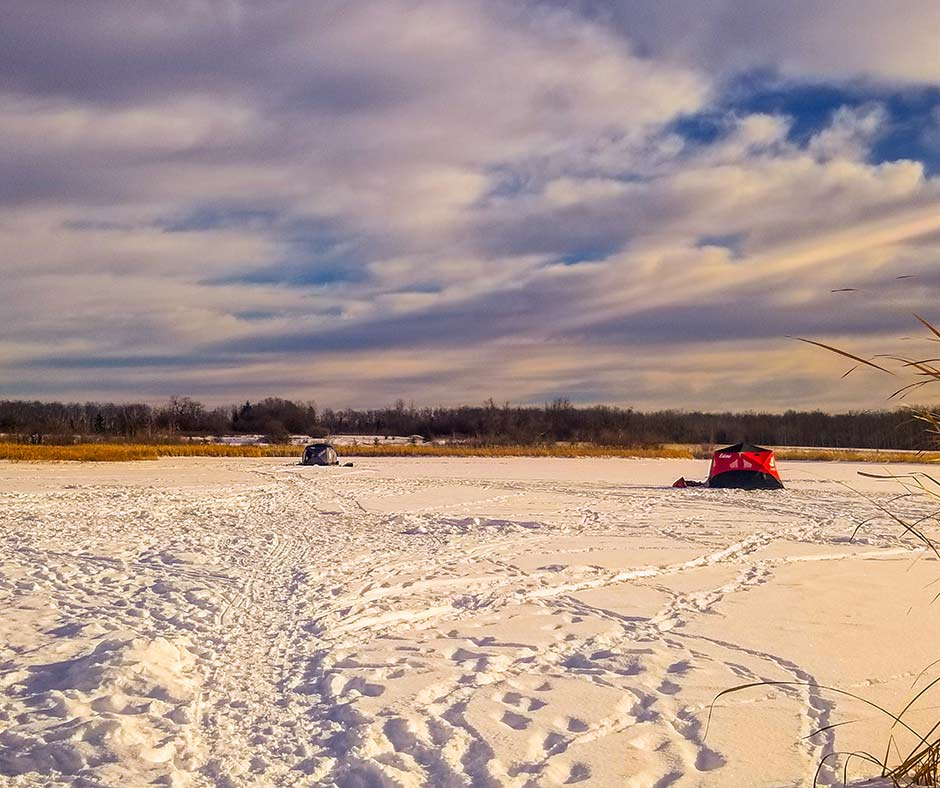 Ice fishing at the Lac du Bonnet Wildlife Ponds