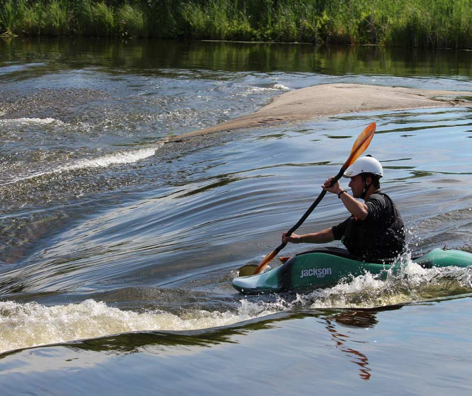 Paddling the rapids at Old Pinawa Dam Provincial Heritage Park