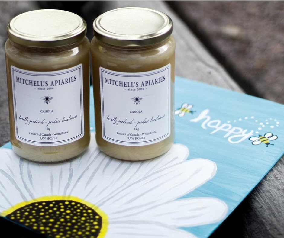 Locally Produced honey found at the Pit Stop Produce Market in Lac du Bonnet