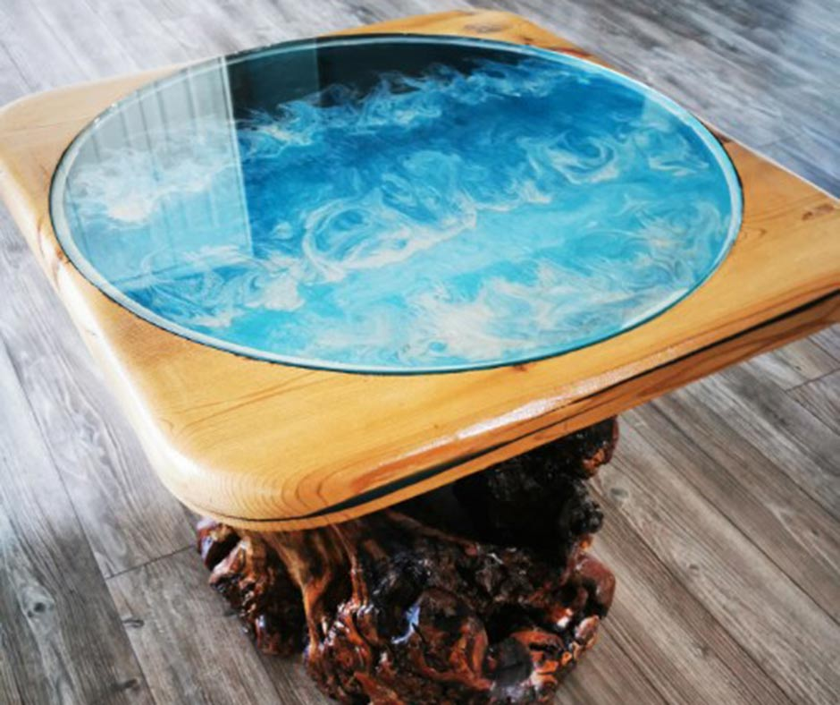 Wood and resin end tables at the Pit Stop Produce Market in Lac du Bonnet